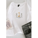 Preppy Girls' Short Sleeve Crew Neck A GROUP OF INTERESTING ANIMALS Letter Giraffe and Donkey Print Loose Tee