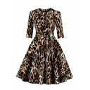 Female Stylish Three-Quarter Sleeve Crew Neck Zipper Front Leopard Pattern Buckle Belt Midi Pleated Flared Dress in Brown