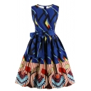 Women's Ethnic Fancy Sleeveless Round Neck Zipper Back Bow Tie Waist Floral Printed Mid Pleated Flared Dress in Blue