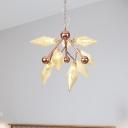 Clear/Amber 9 Lights Pendant Chandelier Industrial Metal Prism Hanging Light