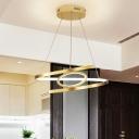 Spiral Metal Ceiling Chandelier Postmodern Gold 18