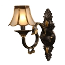 Black 1 Light Wall Lamp Rural Ivory Glass Scalloped Wall Mount Light for Bedroom