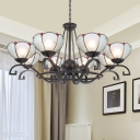 Handcrafted Art Glass Black Chandelier Lantern/Pearl/Magnolia 3/6/8 Bulbs Tiffany Suspension Pendant Light, 25