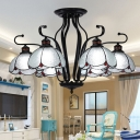 Scalloped White/Blue/Yellow Glass Ceiling Chandelier Tiffany 6/8 Lights Black Hanging Light Kit for Living Room