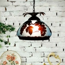 1 Light Pendant Light Tiffany Grape/Petal Stained Glass Hanging Lamp Kit in White/Yellow/Orange for Dining Room