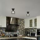 1 Light Caged Flush Mount Lighting Vintage Black Metal Close to Ceiling Light for Kitchen