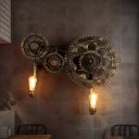 2 Lights Exposed Bulb Wall Lighting Fixture Vintage Antique Bronze Metal Sconce Lamp