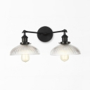 Black/Bronze/Brass 2 Lights Sconce Lamp Industrial Clear Ribbed Glass Dome Wall Light for Living Room