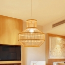 Round Dining Room Suspension Pendant Light Bamboo 1 Light Modern Hanging Lamp in Beige
