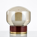 Globe Shaped Bedside Task Lighting Smoke Gray Glass 1 Light Contemporary Table Lamp in Brown