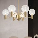 Mini Ball Living Room Chandelier Light Clear Glass 6 Lights Contemporary Down Lighting in Gold