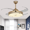 Circular Bedroom Ceiling Fan Light Retro Metal LED Gold Semi Flush Mount Lighting, Remote Control/Frequency Conversion