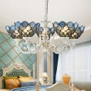 White Beaded Chandelier Light Fixture Baroque 3/5 Lights Stained Glass Pendant Lighting for Living Room