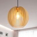 Chinese 1 Head Hanging Lamp Beige Globe Ceiling Pendant Light with Wood Shade