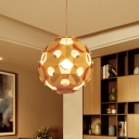 Contemporary 1 Bulb Hanging Lamp Beige Sphere Suspension Pendant Light with Wood Shade