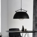 1 Bulb Living Room Hanging Lighting Contemporary Black Ceiling Pendant Light with Bowl Metal Shade