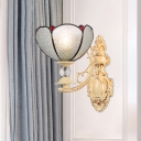 1 Light Floral/Tapered Wall Mount Lamp Mediterranean Silver/White/Pink Stained Art Glass Sconce Light Fixture