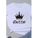 Female Letter QUEEN Crown Pattern Round Neck Short Sleeved Cotton T-Shirt