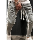 Mens Leisure Stripes Patchwork Slim Fitted Active Pants with Drawstring