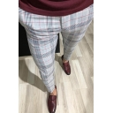 Formal Men's Business Popular Checked Pattern Skinny Fit Suit Pants with Pocket