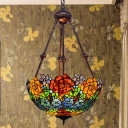 Flower Stained Glass Chandelier Light Tiffany 2 Bulbs Blue/Red/Yellow Pendant Lamp for Living Room