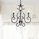 Black Candlestick Hanging Chandelier Vintage Cut Crystal 3/6 Lights Dining Room Ceiling Pendant