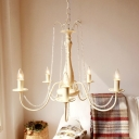 Traditional Candelabra Chandelier Lighting Fixture 5 Heads Crystal Pendant Ceiling Light in Ivory