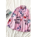 Pretty Pink Long Sleeve Lapel Printed Button Down All Over Letter Printed Pocket Patched Oversize Shirt for Ladies