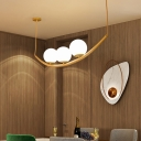 Gold Global Chandelier Lamp Modernism 2/3 Heads White Glass Suspended Lighting Fixture