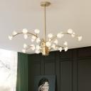 Modernist Flower Pendant Chandelier Opal Glass 33 Heads Hanging Ceiling Light in Gold