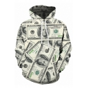 Funny Allover Dollar 3D Printed Long Sleeve Light Yellow Pullover Hoodie
