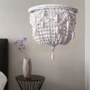 1 Light Wood Sconce Light Fixture Countryside White Beaded Living Room Wall Lighting Idea