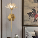 Gold 1 Light Wall Sconce Lighting Traditional Clear Crystal LED Lotus Wall Mount Light, 16