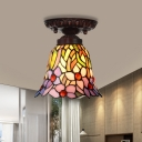 Pink/Blue Cut Glass Floral Flush Mount Light Fixture Mediterranean 1 Light Bronze Ceiling Lighting for Corridor