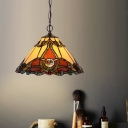 1 Light Kitchen Hanging Ceiling Light Tiffany Style Coffee Suspension Lamp with Tapered Red Cut Glass Shade