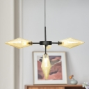 4 Heads Tapered Ceiling Chandelier Modernism Amber Glass Hanging Light Fixture in Black