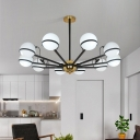 Modern 6/8/10 Bulbs Chandelier Light Black Round Pendant Lighting Fixture with Opal Frosted Glass Shade