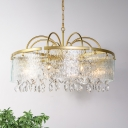 Round Crystal Chandelier Countryside 4/6/8 Lights Living Room Pendant Lighting Fixture in Gold