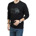 Funny Letter JEEP Printed Long Sleeves Crew Neck Leisure Graphic Sweatshirt