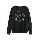 Lovely Planet Pattern Long Sleeve Crew Neck Loose Fit Pullover Sweatshirt