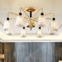 Lattice Glass Conical Semi Flush Light Modernist 3/5/8 Bulbs Gold Close to Ceiling Lighting with Metal Arm
