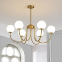 Metal Curved Arm Hanging Chandelier Modernist 6 Bulbs Gold Ceiling Pendant Light