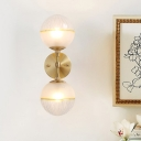 Frosted Glass Orb Sconce Light Modernist 2 Heads Brass Wall Mount Lighting for Living Room
