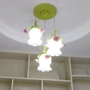 3 Bulbs Scalloped Cluster Pendant Traditionalism White/Green Frosted Glass Hanging Light Fixture