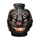 Hot Popular Cheshire Cat 3D Printed Long Sleeves Gray Oversized Hoodie