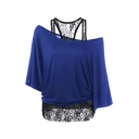 Unique Fashion Ladies' Batwing Sleeve Cold Shoulder Lace Patched Asymmetric Relaxed T Shirt
