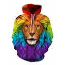 Rainbow Lion Head 3D Pattern Long Sleeves Relaxed Loose Pullover Hoodie