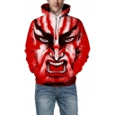Guys Popular Cartoon Face 3D Printed Long Sleeves Oversized Red Pullover Hoodie