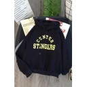 Cool Girls' Long Sleeve Drawstring Letter CENTER STINGERS Oversize Hoodie