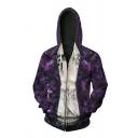 New Arrival Dark Purple Long Sleeve Zip Placket Slim Fit Cosplay Hoodie